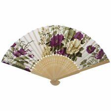 1X(Frauen Sommer Hochzeit Blumenmuster Stoff faltender Handfaecher Weiss Li E2K7