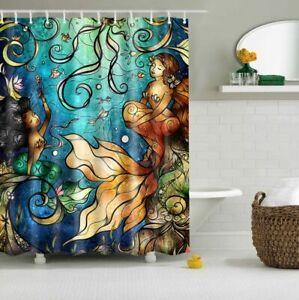Seabed Mermaid Design Bathroom Waterproof Fabric Shower Curtain 12 Hooks