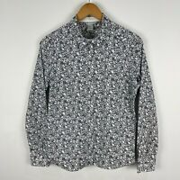 H&M Womens Button Shirt Top 12 White Black Floral Long Sleeve Collared
