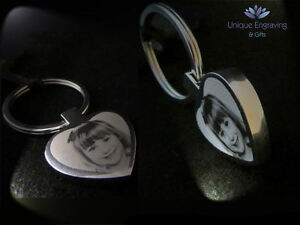 Personalised Photo Engraved Heart Keyring Keychain - Great Mothers Day Gift!
