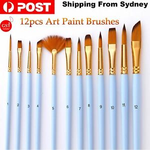 12PCS Art Fine Deatail Paint Brushes Craft Tool Watercolour Oil Painting Drawing