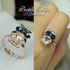 18K Rose Gold GP Cute Owl Ring Made with Swarvoski Crystal Size Adjustable