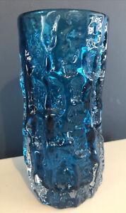 """Whitefriars Geoffrey Baxter ~ 9689 Kingfisher Blue 6"""" Inch Textured Bark Vase"""
