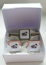 More details for keeshond cuff links tie clip slide by curiosity crafts