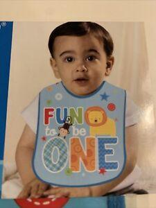 1st Birthday Party Bib Boy First Jungle Monkey Lion Fun Decor Supplies Blue