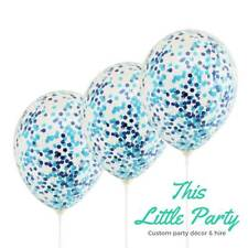 Blue Confetti Balloons 3pk x 28cm Boy Baby Shower Birthday Party Decoration