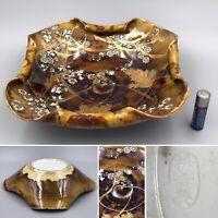 Antique Kawamoto Masukichi 枡吉製 Meiji Japanese Seto Porcelain Bowl, Brown Gold