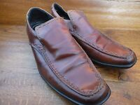 M & S Autograph Jeffrey West Mid Tan Leather Slip On Loafers Shoes UK 10 EU 44