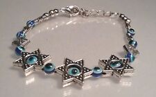 ALL-SEEING EYE Bracelet BUDDHA Silver Tone BLUE - Evil Eye - Star of David