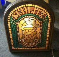 Vintage 1970's Schlitz Lighted Faux Stained Glass Window Bar Beer Sign