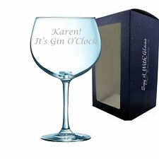 Personalised Engraved Juniper Gin O'Clock Glass Large Gift Box Birthday