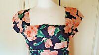 Vintage-stylePretty Dress Company Floral Print Size 14 Cotton stretch Navy Peach