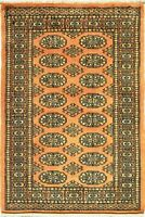 2 x 4 Gold Rugs Bukhara Design Hand Knotted Area Rug & Carpets For living Rooms