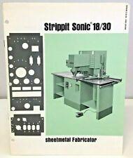 Strippit Sonic 1830 Sheetmetal Fabricator 1st Edition Information Booklet 1965
