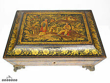 Early Georgian Chinoiserie Penwork & Gold Lacquer Sarcophagus Jewellery Box
