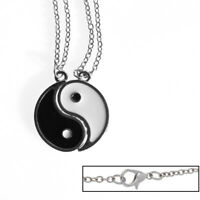 Pair Large Ying and Yang Yin Tai Chi BEST FRIENDS Enamel Necklace Pendant NEW