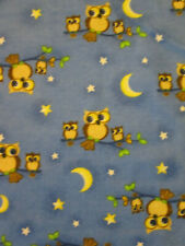 OWLS TREE MOON STARS BLUE YELLOW FLANNEL FABRIC FQ