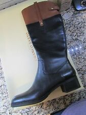 NEW FRANCO SARTO CLOVE 2 BLACK LEATHER KNEE HIGH RIDING BOOTS WOMENS 9.5