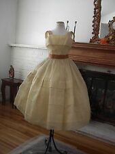 1950'S Gorgous Antique Yellow Organdy Prom Gown Size 4