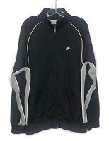 Vintage Nike Mens Full Zip Track Athletic Jacket Black Gray White Swoosh Sz L