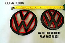 Front & Rear Grille Hatch Emblem Badge Gloss Black Red Trim VW MK 7 GTI TDI GTD