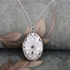 Damen Medaillon Silber Medallion Foto Anhänger Amulett öffnen Glücksbringer Neu