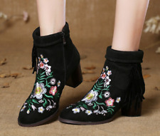 Womens Embroidered Floral Suede Retro Tassels Zippers Ankle Boots Shoes A323
