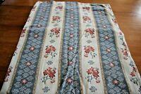 Flat Sheet Vintage Pequot Blue Pink Floral Stripes Full Double Cotton Blend