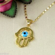 N11 18K Gold Plated Hand of Fatima Hamsa Protector Necklace  -  Gift boxed