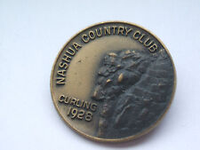 canadian curling club vintage enamel badge   nashua county club curling 1928