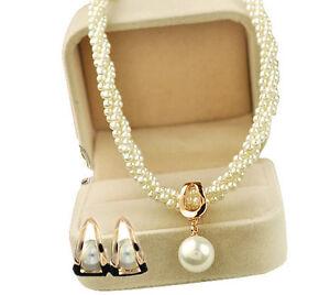 Luxury White Cream Pearls & Gold Jewellery Set Stud Earrings & Necklace S381