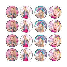 16x EDIBLE Jojo Siwa birthday Cupcake Toppers Wafer Paper 4cm (uncut)