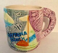Daytona Beach Florida Souvenir Mug Beach Life Sailboat Fish Shells Coffee Tea