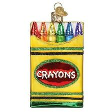 Box Of Crayons Old World Christmas Glass Coloring Book Draw Ornament Nwt 32458