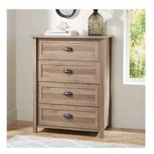 Rustic Washed Oak Log Lodge Wood Finish 4 Drawer Dresser Storage Chest Country