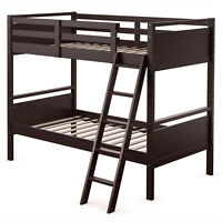 Costway Twin Over Twin Bunk Bed Convertible 2 Individual Beds Wooden Espresso