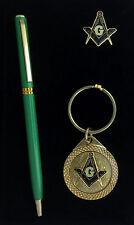 Masonic Lapel Pin, Keychain & Ink Pen Gift Set (Green Pen) EES