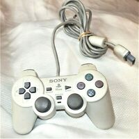 Sony Playstation PS one Dual Shock Wired Gray Analog Controller SCPH-110 WORKS