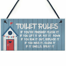 Toilet Rules Sign Nautical Theme Hanging Sign For Toilet Beach Home Decor