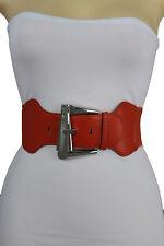 Women Fashion Wide Belt Orange Stretch Waistband Big Silver Metal Buckle S M L