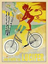 1908 French Bicycle Advertising Poster Joie d'enfer sur Lucifer Cycle Tour 18x24