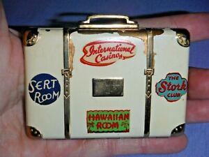 Vintage Suitcase Powder Compact Enamel Travel luggage Makeup Miniature