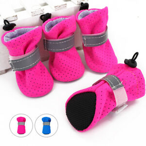 4pcs Dog Shoes Small Medium Mesh Boots Booties for Snow Rain Reflective Non Slip