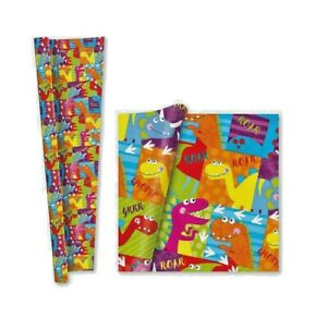 4m (2 x 2m) Kids Roll Gift Wrap - Dinosaurs - Party Child Present