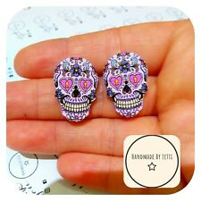 Recycled Button � Halloween 25mm pink Sugar Skull Stud Earrings 💜 Wooden 💀