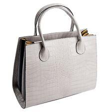 Ital. Ledertasche Damentasche Tote Bag Satchel echt Leder Kroko Optik Grau 592G