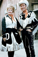 Roy Rogers 11x17 Mini Poster with Dale Evans in cowboy outfits later pose rare