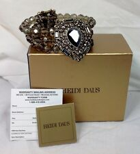 NIB Heidi Daus Smokey Topaz Swarovski Crystal 3 Strand Stretch Bracelet Med-Lg