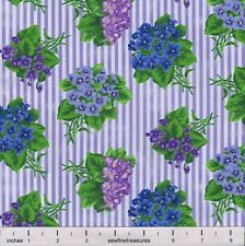 Flower of the Month February VIOLET STRIPE Northcott Fabric By the FQ - 1/4 YD
