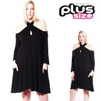 PLUS Size Sexy Boho Open Cold Shoulder Keyhole Little Black mini Dress 1X 2X 3X